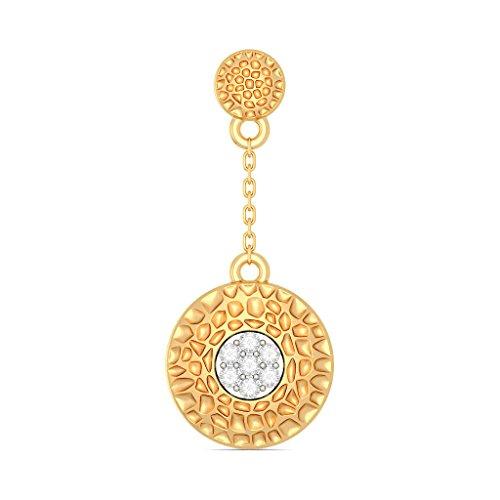 Or jaune 18K 0.11CT TW White-diamond (IJ | SI) Pendants d'oreilles