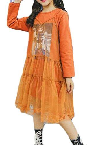 Cruiize Girls Funny Round Neck Long Sleeve Mesh Pattern 2 Layer Dress Orange 10/12 by Cruiize