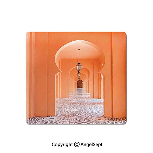 (Mouse Pad,Moroccan Walkway with Islamic Motifs and Arabic Artsy Elements Visual Oriental Photo,Standard Computer Mouse Pad with Neoprene Backing and Cloth Surface,8.26x10.23 Inch,Orange)