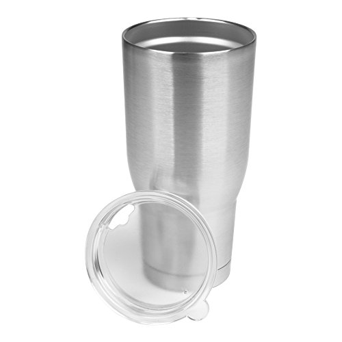 Pro32: Double Wall, Insulated Vacuum, Condensation Free Tumbler. 18/8 Food Grade Stainless Steel Exterior with Drink Through Frosted Acrylic Lid., Stainless