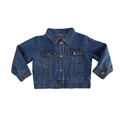 Toddler Baby Boys Girls Long Sleeve Jean Denim Jacket Coat for Autumn Winter (2-3 Years, A)