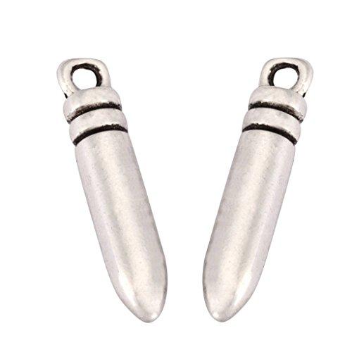 20 x Cute Bullet Charms 20x5mm Antique Silver Tone for Bracelets Necklaces Earrings #mcz1225