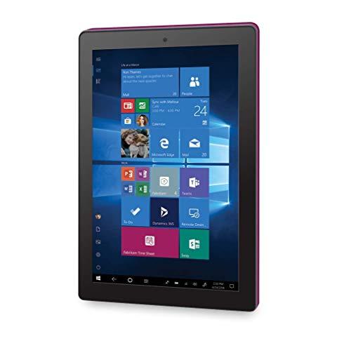 RCA Cambio 10.1 inches 2 in 1 32GB Tablet with Windows 10, Intel Atom Z8350 2GB RAM, Includes Keyboard (Burgundy) (Renewed)