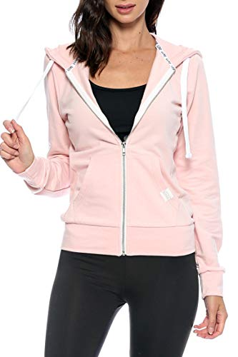 Urban Look Womens Basic Lightweight Stretch French Terry Zip up Hoodie (Large, A Blush Pink) (Pink Zip Up Hoodie Women)