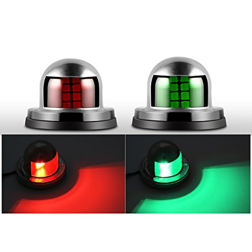 Exsart Marine Boat Yacht Light, 12V Stainless Steel Marine Yacht Lights LED Bow Side Lights Pontoons Sailing Signal Lights (Red & Green) by Exsart