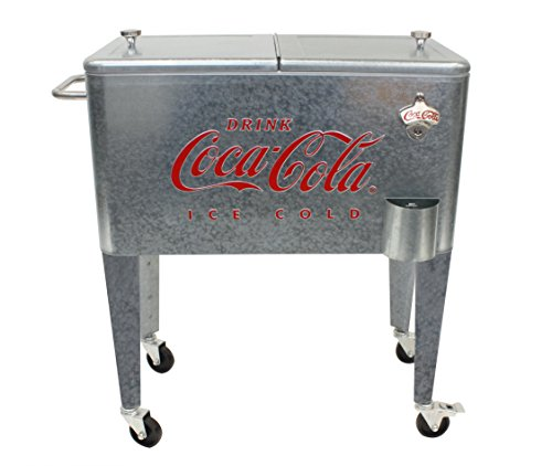 Leigh Country CP 98104 Galvanized Coca-Cola Rolling Cooler, 60 Quart, Silver