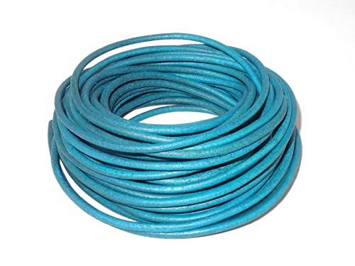 (cords craft 2.0mm Genuine Round Leather Cord Leather String Matte Finish for Jewelry Making Bracelet Necklace Beading, 10 Meters / 10.93 Yards, Natural Dye (Turquoise))