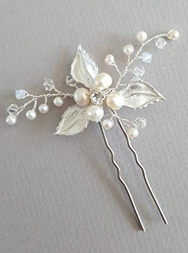 - Deniferymakeup Dainty Wedding Hair Pins Leaf Hair Pins Rhinestone Wedding Hair Accessories Bridal Tiara Pearl Hair Pins Wedding Hair Comb Handmade Bridal Head Ornaments (Set of 3) (Silver)