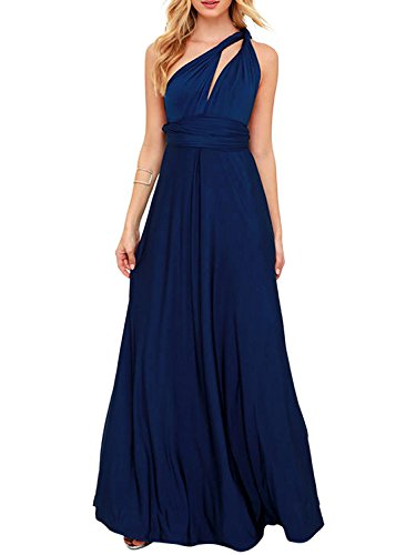 Clothink Women Navy Blue Convertible Wrap Transfomer Baby Shower Maxi Dress L ()