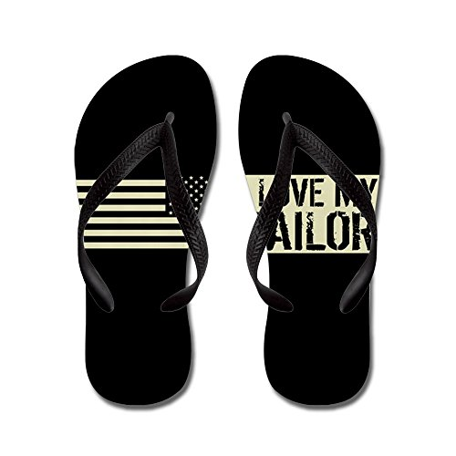 Cafepress Us Navy: I Love My Sailor (black Flag - Flip Flops, Funny Thong Sandals, Beach Sandals