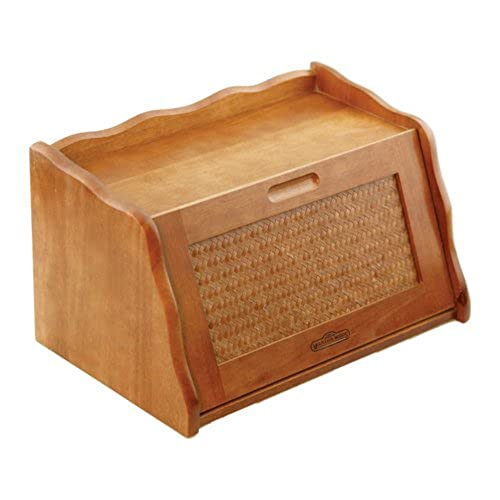 Mountain Woods Large Honey Oak Finish Wooden Bread Box Storage W Rattan Accented Lid
