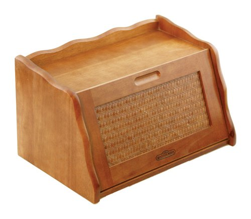Mountain Woods Large Honey Oak Finish Wooden Bread Box & Storage Box w/Rattan Accented Lid RBBX