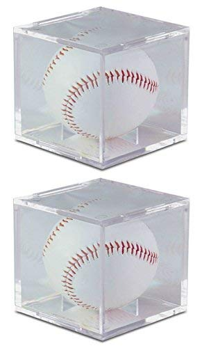 BCW Square Ball Display Box Crystal Clear with Built-In Ball Cradle and UV Protection (2-Units) (Four Case Display Baseball)
