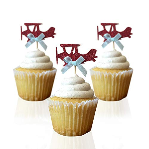 Airplane cupcake toppers - double sided for 1st birthday party boy baby shower cake decorations graduation anniversary wedding child bake events red glitter vintage planes unisex toy fiesta 10 CT ()