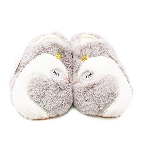 New Cartoon Home Shoes Women Soft Snow Velvet Exquisite Embroidery Indoor Slippers,Grey,6 ()