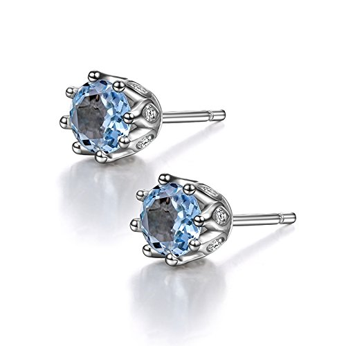 Sterling Silver Genuine London Blue Topaz Stud Earrings with March Birthstone for Teen Little (Blue Topaz Genuine Gift Box)