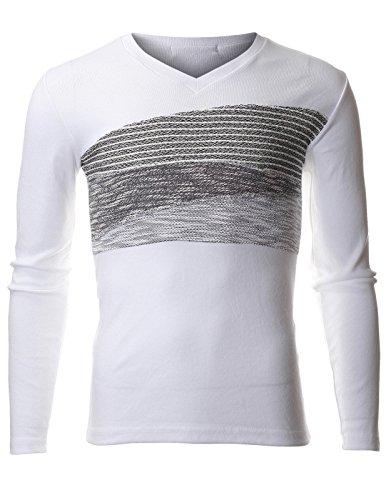 Iii V-neck - FLATSEVEN Mens Slim Fit V-neck Long Sleeve Three Stage Jacquard Point Tee Shirt (TVL3000) White, XL