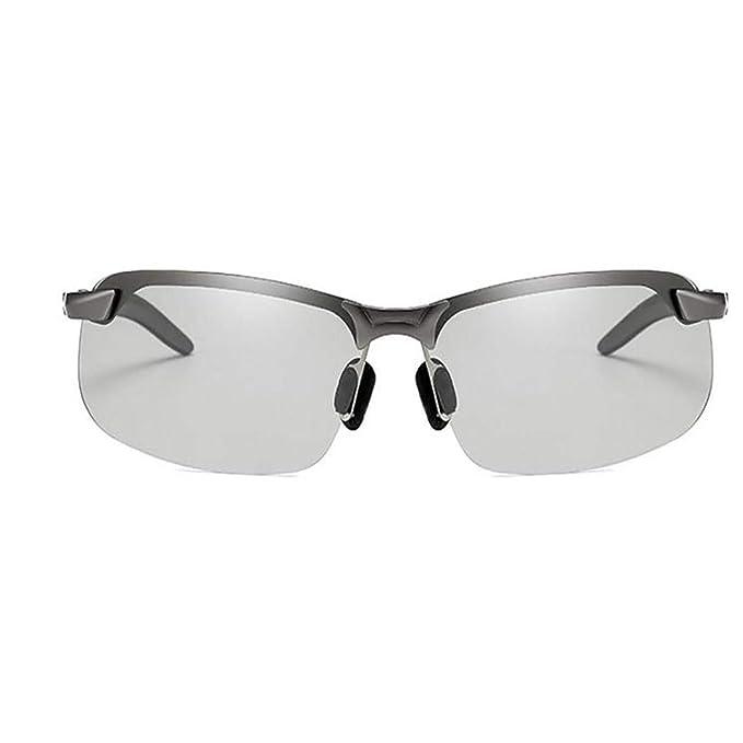 scottpown Lentes de cambio de color de medio fotograma de hombres Lentes polarizadas que conducen gafas de sol deportivas Gafas de sol
