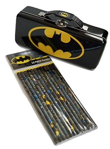 The Tin Box Company Batman - Storage Tin with 12 Batman Design Pencils Set (Spider Man Pencil Sharpener)