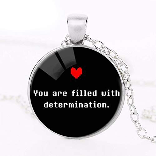 """Undertale Gamer Toy"""" Just Be Who You are"""" Colorfu Heart Photo Glass Pendants Chain Necklace Women Fashion Undertale Jewelry"""