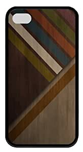 Abstract wood colors TPU Case Cover Protector Compatible with iPhone 4/4S Black