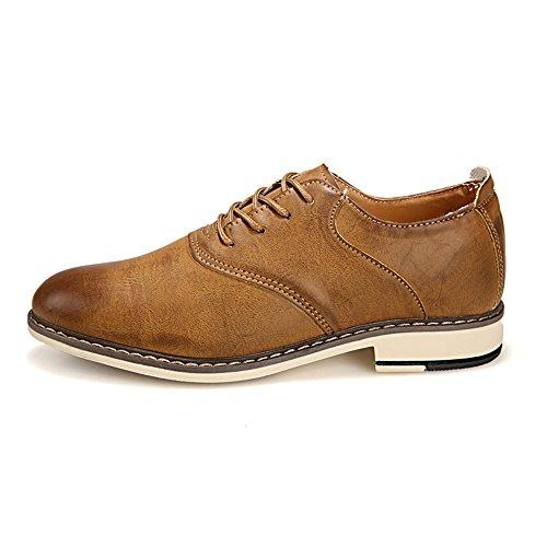 de Hombres tacón shoes Color del sólido tamaño Marrón Casuales del Fang Acentuado Dedo Negocios 2018 Hombre los Cordones Plano Oxfords con de 41 de pie Zapatos Zapatos Marrón EU Color 0wZqTwdO