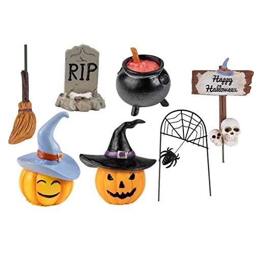 Juvale Halloween Fairy Garden Kit – 7-Piece Halloween Miniature Resin Figurines, Garden Ornaments, Party Favors, Including Pumpkins, Spider Web, Skulls, Tombstone Outdoor, Lawn Home Decoration free shipping TGwr995P