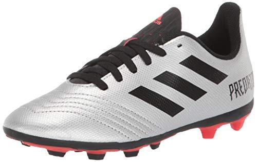 adidas Unisex Predator 19.4 Firm Ground Soccer Shoe, Silver Metallic/Black/hi-res red, 1 M US Little Kid