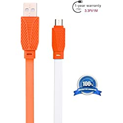 Hankuke USB A Male 2.0 to Micro USB B Quick Charging and Date Sync Cable Cool Designed of Flexible Flat Style with Double Side color For Amazon Kindle Fire, Kindle Voyage, Kindle Paperwhite (orange)