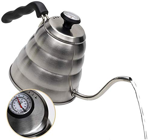 Triple Bottom Layer Steel Stainless - Pour Over Coffee Kettle with Outstanding Thermometer (40floz) - Gooseneck Kettle - Triple Layer Stainless Steel Bottom Works on any Heat Source for Drip Coffee and Tea
