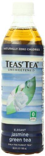 Teas' Tea, Unsweetened Jasmine Green Tea, 16.9 Ounce (jumbo pack of 48) by Teas' Tea