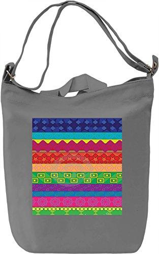 Vintage Lines Print Borsa Giornaliera Canvas Canvas Day Bag| 100% Premium Cotton Canvas| DTG Printing|