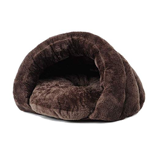 LIUCS Kennels Warm Plush Cat Sleep Bag/Cozy Pet Cave Bed Nest, Indoor Pet Triangle Nest, for Cat Puppy Rabbit Small Animals (Color : Brown, Size : 50×50×36cm)