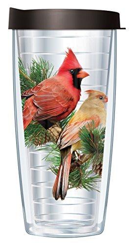 Cardinals Gift Wrap - Cardinal Clear Wrap Traveler 16 Oz Tumbler Mug with Lid