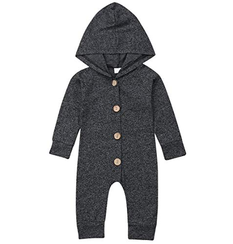 (Emmababy Baby Boys Girls Jumpsuit Hoodie Romper Outfit Long Sleeve Creepers Bodysuit Clothes (0-6Months, Grey) )