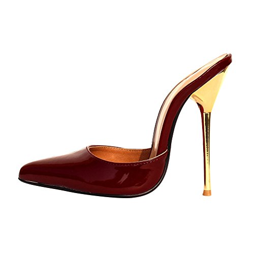 fereshte Women's Men's Simple Closed-Toe Slip On Stiletto Heel Sexy Sandals Wine Red u8DLfFD7ws