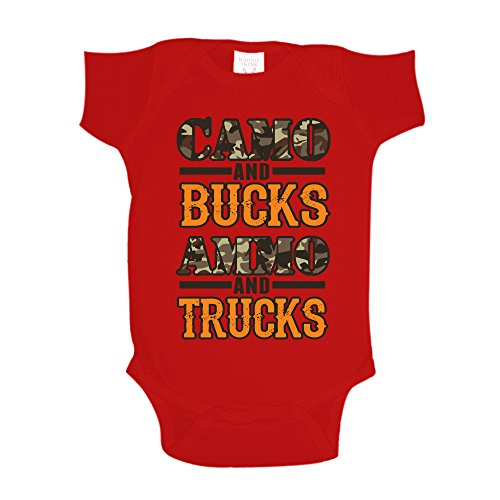 The Shirt Den Camo And Bucks Ammo And Trucks Hunting Toddler T Shirt 3T Red