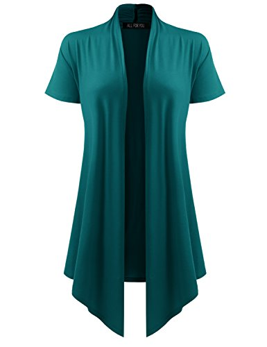 ALL FOR YOU Women's Soft Drape Cardigan Short Sleeve Teal Large by A.F.Y