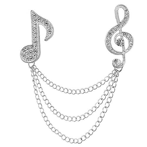 Women Men Music Note Diamond Brooch Pearls Corsage Small Fresh Beat Notes Pin c (Color - Silver)