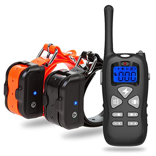 Katze-Tatze Dog Training Collar (Two Receivers), Electric Shock Collar up to 1000ft+ Remote Control, Waterproof and Rechargeable with Beep, Vibration and Shock Mode for Two Dogs