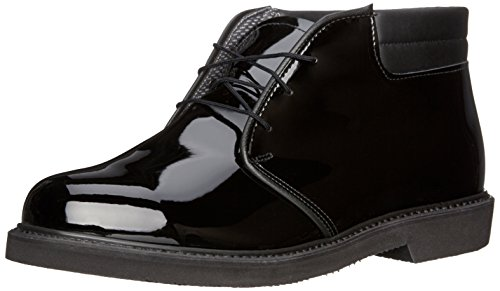 Bates Men's Lites High Gloss Padded Collar Chukka, Black, 12 D US (Bates High Gloss Leather)