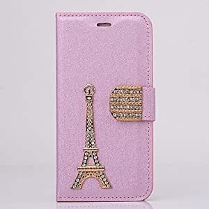 JAJAY Diamond Iron Tower PU Leather Full Body Case with Stand for iPhone 6(Assorted Colors) , Pink