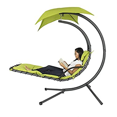 Best Choice Products® Hanging Chaise Lounger Chair Arc Stand Air Porch Swing Hammock Chair Canopy Gr