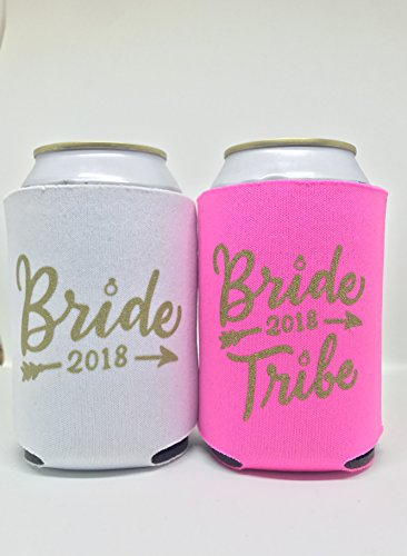 BRIDE TRIBE CAN COOLER KOOZIE (11 PACK) WHITE PINK GOLD BACHELORETTE PARTY FAVOR BRIDAL SHOWER BRIDESMAID INSULATED NEOPRENE SLEEVES