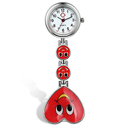 Lancardo Candy Color Smile Heart Face Nurse Clip Watch Medical Lapel Pocket Clasp Watch(7 Colors) (red) - Medical Pocket Watch