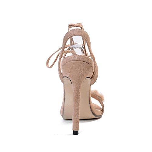 L@YC Frauen High Heels gebunden mit offenen Zehen Cross Straps 11cm Party Party Sandalen Apricot