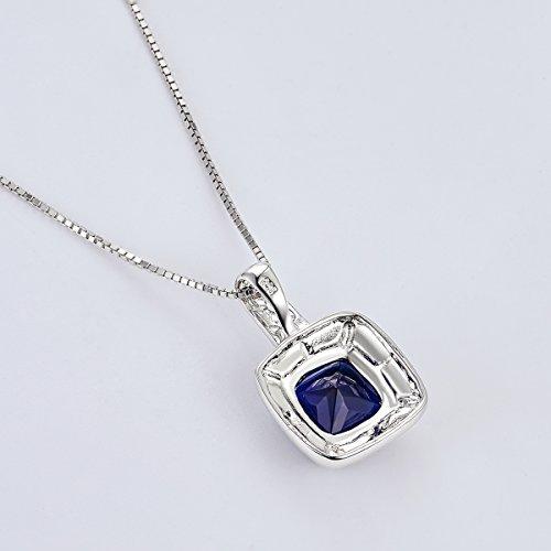 City Ouna® Sterling Silver Place forme créée bleu et vert opale de feu Inlay et collier pendentif zircon pour les femmes filles cadeau Saint Valentin,Cadeau de Noël,la fête des mères,Halloween,Dating