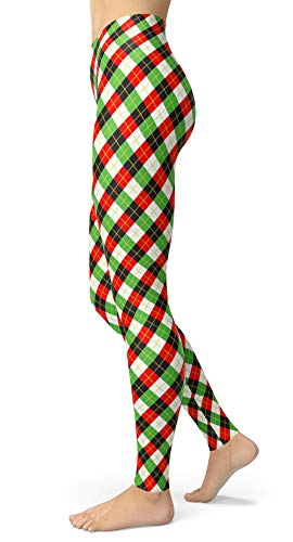 Women's Checkered Plaid Printed Leggings Stretchy Brushed Buttery