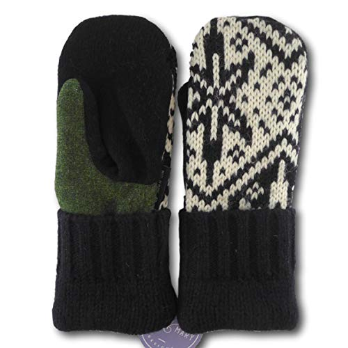 Jack & Mary Designs Handmade Mens Fleece-Lined Wool Mittens, Made from Recycled Sweaters in the USA (Black/Cream/Green, OneSize)