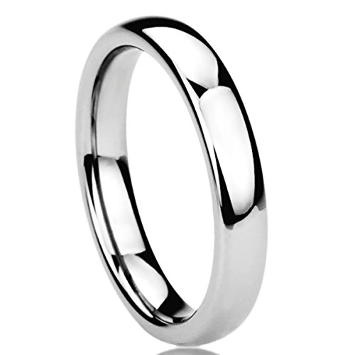 4MM Stainless Steel Wedding Band Ring High Polished Classy Domed Ring (5 to 11) - Size: 7 (Fit Mens Wedding Band 4mm Comfort)